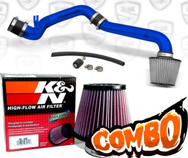 K&N® Air Filter + Spyder® Cold Air Intake System (Blue) - 95-99 Saturn S-Series 1.9L 4cyl SOHC (MT)