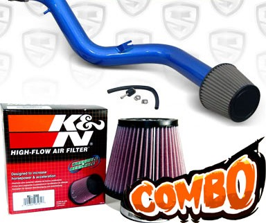 K&N® Air Filter + Spyder® Cold Air Intake System (Blue) - 97-01 Honda Prelude 2.2L  4cyl