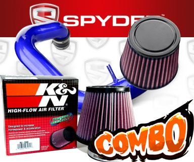 K&N® Air Filter + Spyder® Cold Air Intake System (Blue) - 97-02 Hyundai Tiburon 2.0L 4cyl