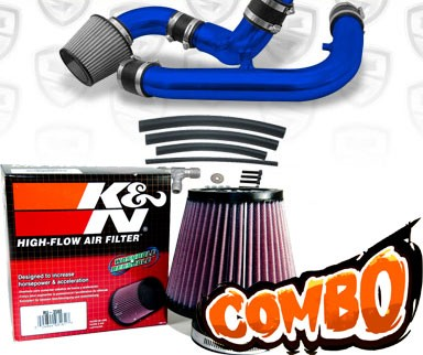 K&N® Air Filter + Spyder® Cold Air Intake System (Blue) - 97-98 Nissan 240SX 2.4L 4cyl