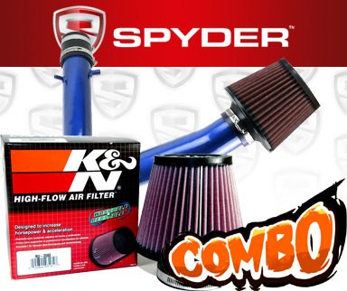 K&N® Air Filter + Spyder® Cold Air Intake System (Blue) - 98-02 Honda Accord 3.0L V6
