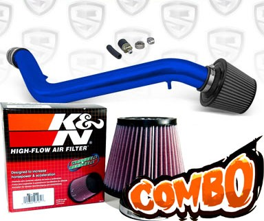 K&N® Air Filter + Spyder® Cold Air Intake System (Blue) - 99-00 Honda Civic SI DOHC 1.6L 4cyl