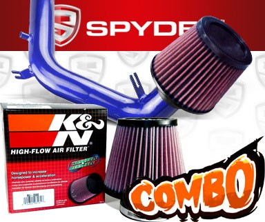 K&N® Air Filter + Spyder® Cold Air Intake System (Blue) - 99-05 VW Volkswagen Jetta IV 2.0L 4cyl SOHC