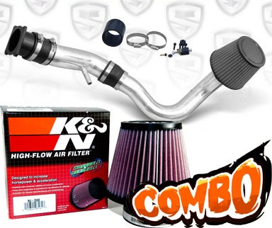 K&N® Air Filter + Spyder® Cold Air Intake System (Polish) - 00-01 Nissan Sentra 2.0L 4cyl