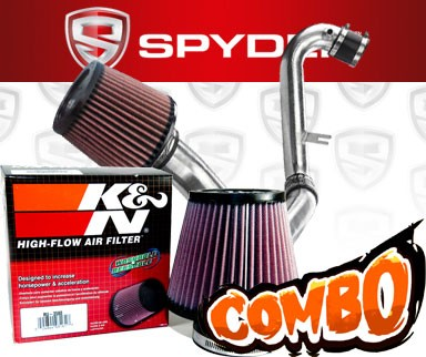 K&N® Air Filter + Spyder® Cold Air Intake System (Polish) - 01-05 Honda Civic EX 1.7L 4cyl (MT)