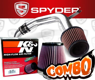 K&N® Air Filter + Spyder® Cold Air Intake System (Polish) - 02-04 Ford Focus SVT 2.0L 4cyl