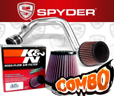 K&N® Air Filter + Spyder® Cold Air Intake System (Polish) - 03-06 Toyota Matrix XRS 1.8L 4cyl