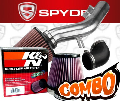K&N® Air Filter + Spyder® Cold Air Intake System (Polish) - 08-12 Chevy Malibu 2.4L 4cyl (Without Air Pump)