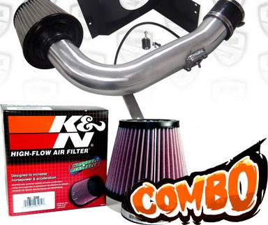 K&N® Air Filter + Spyder® Cold Air Intake System (Polish) - 08-14 Subaru Impreza WRX/Sti Turbo 2.5L 4cyl