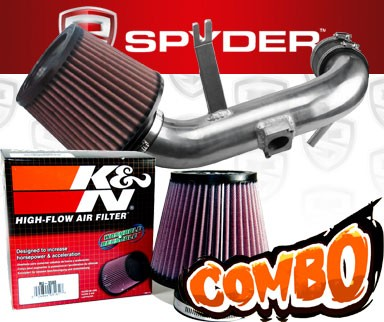 K&N® Air Filter + Spyder® Cold Air Intake System (Polish) - 09-15 Mitsubishi Lancer 2.4L (AUTOMATIC TRANSMISSION ONLY) 4cyl Non-Turbo