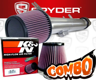 K&N® Air Filter + Spyder® Cold Air Intake System (Polish) - 11-14 Ford Mustang 3.7L V6