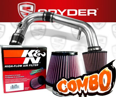 K&N® Air Filter + Spyder® Cold Air Intake System (Polish) - 11-15 Chevy Cruze Non-Turbo 1.8L 4cyl (Exc. models with secondary air pump)