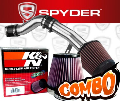 K&N® Air Filter + Spyder® Cold Air Intake System (Polish) - 12-13 Hyundai Veloster 1.6L 4cyl Non-Turbo