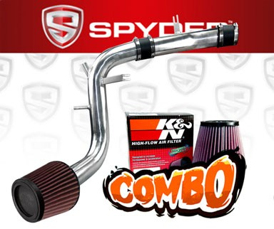 K&N® Air Filter + Spyder® Cold Air Intake System (Polish) - 13-16 Hyundai Veloster Turbo 1.6L 4cyl