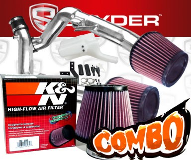 K&N® Air Filter + Spyder® Cold Air Intake System (Polish) - 14-15 Infiniti Q60 3.7L V6 (exc IPL)