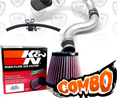 K&N® Air Filter + Spyder® Cold Air Intake System (Polish) - 90-93 Acura Integra 1.7L/1.8L 4cyl