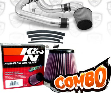 K&N® Air Filter + Spyder® Cold Air Intake System (Polish) - 91-94 Nissan 240SX 16V 2.4L 4cyl