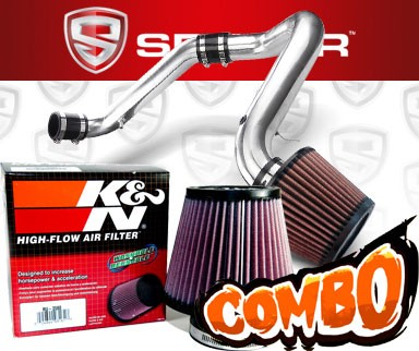 K&N® Air Filter + Spyder® Cold Air Intake System (Polish) - 91-99 Saturn S-Series DOHC 1.9L 4cyl