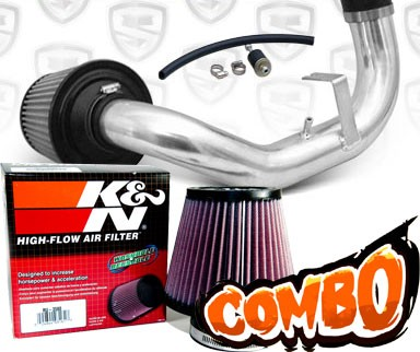 K&N® Air Filter + Spyder® Cold Air Intake System (Polish) - 95-99 Dodge Neon DOHC 2.0L 4cyl