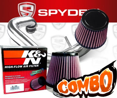 K&N® Air Filter + Spyder® Cold Air Intake System (Polish) - 97-02 Hyundai Tiburon 2.0L 4cyl