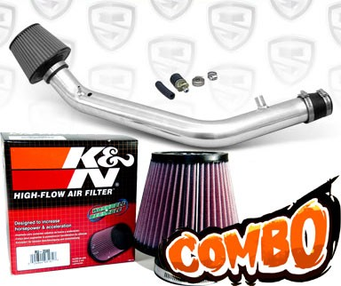 K&N® Air Filter + Spyder® Cold Air Intake System (Polish) - 99-00 Honda Civic SI DOHC 1.6L 4cyl