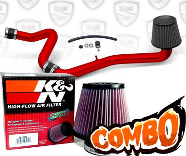 K&N® Air Filter + Spyder® Cold Air Intake System (Red) - 00-03 Saturn S-Series DOHC 1.9L 4cyl