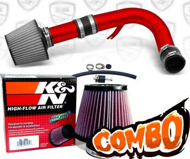 K&N® Air Filter + Spyder® Cold Air Intake System (Red) - 00-05 Dodge Neon SOHC 2.0L 4cyl