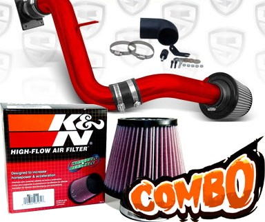 K&N® Air Filter + Spyder® Cold Air Intake System (Red) - 00-05 Mitsubishi Eclipse GT 3.0L V6