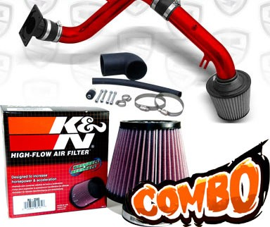 K&N® Air Filter + Spyder® Cold Air Intake System (Red) - 00-05 Mitsubishi Eclipse RS/GS 2.4L 4cyl