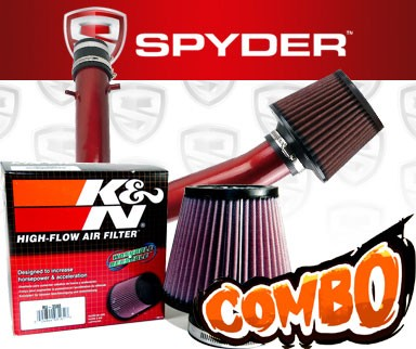K&N® Air Filter + Spyder® Cold Air Intake System (Red) - 01-03 Acura CL 3.2 3.2L V6 Base Model