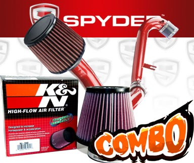 K&N® Air Filter + Spyder® Cold Air Intake System (Red) - 01-05 Honda Civic EX 1.7L 4cyl (MT)