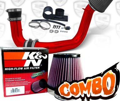 K&N® Air Filter + Spyder® Cold Air Intake System (Red) - 02-05 Mitsubishi Lancer 2.0L 4cyl (MT)