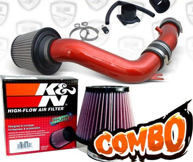 K&N® Air Filter + Spyder® Cold Air Intake System (Red) - 02-06 Nissan Sentra Spec-V SE-R 2.5L 4cyl