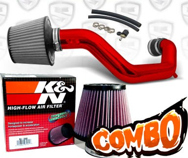 K&N® Air Filter + Spyder® Cold Air Intake System (Red) - 03-06 Honda Accord 2.4L 4cyl (Exc. MAF Equipped)