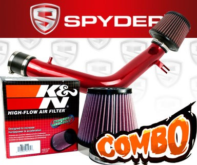 K&N® Air Filter + Spyder® Cold Air Intake System (Red) - 03-06 Honda Accord 3.0L V6