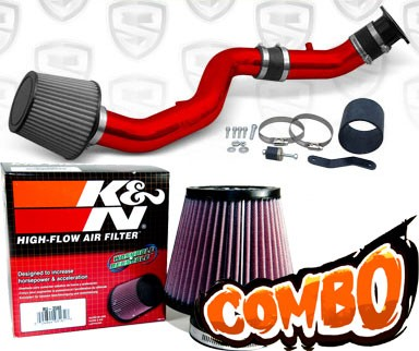 K&N® Air Filter + Spyder® Cold Air Intake System (Red) - 03-06 Nissan 350Z 3.5L V6