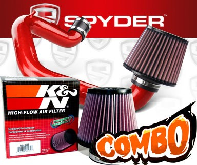 K&N® Air Filter + Spyder® Cold Air Intake System (Red) - 03-06 Toyota Matrix XR 1.8L 4cyl