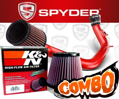 K&N® Air Filter + Spyder® Cold Air Intake System (Red) - 03-06 Toyota Matrix XRS 1.8L 4cyl