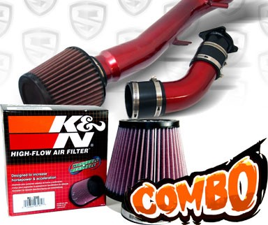 K&N® Air Filter + Spyder® Cold Air Intake System (Red) - 03-07 Infiniti G35 2dr Coupe 3.5L V6 (AT)