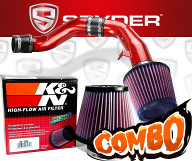 K&N® Air Filter + Spyder® Cold Air Intake System (Red) - 03-08 Hyundai Tiburon 2.7L V6