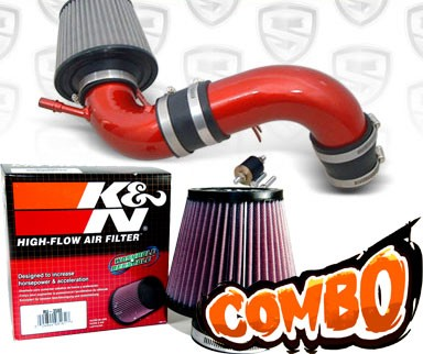 K&N® Air Filter + Spyder® Cold Air Intake System (Red) - 04-04 Ford Focus 2.3L 4cyl