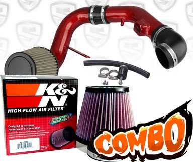 K&N® Air Filter + Spyder® Cold Air Intake System (Red) - 05-08 Chevy Cobalt SS 2.4L 4cyl
