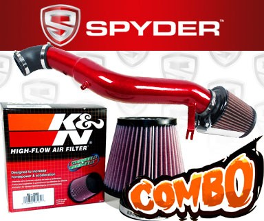 K&N® Air Filter + Spyder® Cold Air Intake System (Red) - 05-10 Jeep Grand Cherokee 3.7L V6