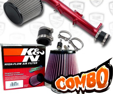K&N® Air Filter + Spyder® Cold Air Intake System (Red) - 06-12 Toyota Yaris 1.5L 4cyl