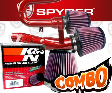 K&N® Air Filter + Spyder® Cold Air Intake System (Red) - 07-10 BMW 335i 3.0L L6 E90/E92/E93