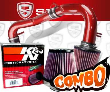 K&N® Air Filter + Spyder® Cold Air Intake System (Red) - 07-10 Scion tC 2.4L 4cyl