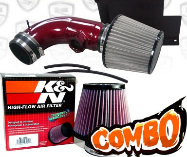 K&N® Air Filter + Spyder® Cold Air Intake System (Red) - 07-12 BMW 328i E90/E92/E93 3.0L 6cyl