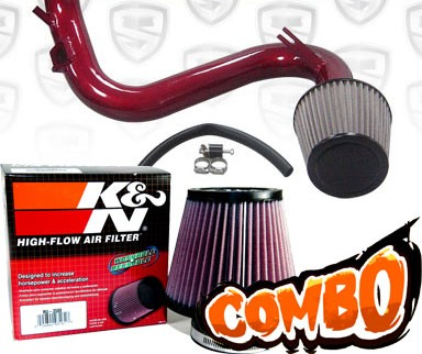 K&N® Air Filter + Spyder® Cold Air Intake System (Red) - 07-13 Mazda Mazdaspeed 3 Turbo 2.3L 4cyl