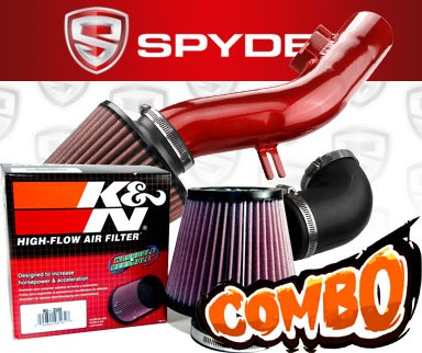 K&N® Air Filter + Spyder® Cold Air Intake System (Red) - 08-12 Chevy Malibu 2.4L 4cyl (Without Air Pump)