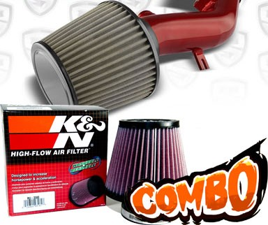 K&N® Air Filter + Spyder® Cold Air Intake System (Red) - 08-12 Chevy Malibu 2.4L 4cyl (with Air Pump)